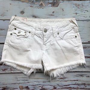 True Religion white distressed hem shorts